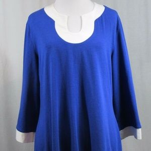 Soft Surroundings Blue White Tunic Top M FLAW